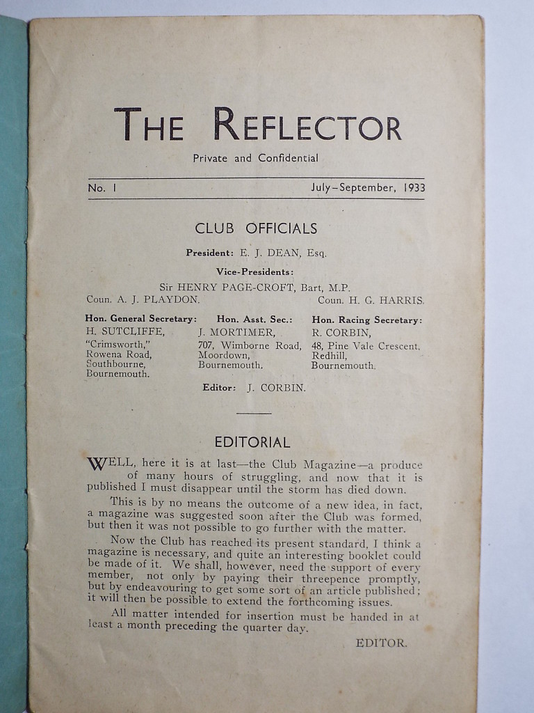 Reflector 1933 first page